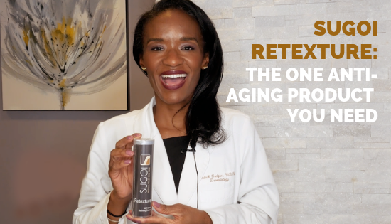 Dr. Tanya Rodgers holding Sugoi Retexture Anti-Aging Product