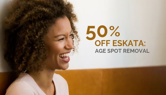 50% OFF Eskata, Age Spot Removal Graphic with woman smiling.